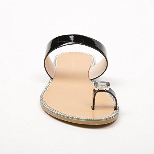 Idéal Shoes Chanclas Metálicas, Con Inserción De Joyas Y Strass, Modelo: Jamila Nero