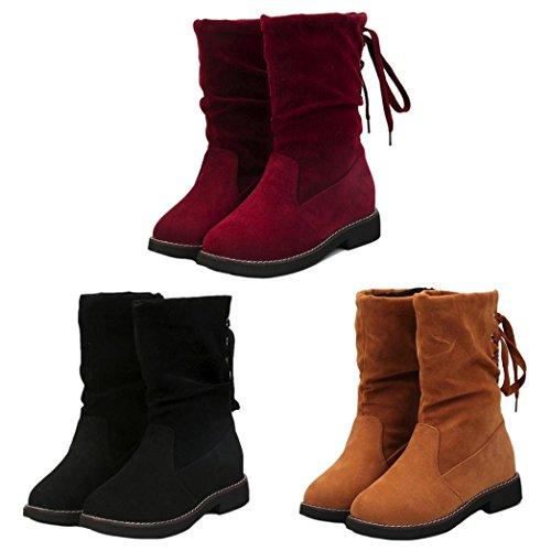 ESAILQ Mesdames Femmes Wedge Boucle Basse Biker Cheville Bottines Plates Garniture Chaussures Après la Sangle
