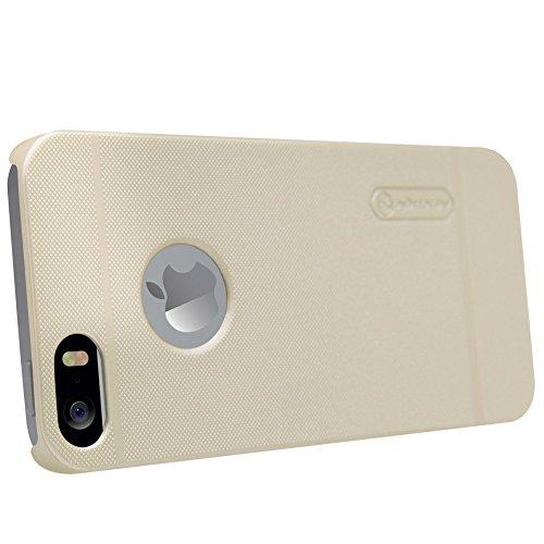 iPhone SE 5SE Hülle, Nillkin [Anti-Slip] [Schlank Passen] Frosted Tasche Ultra dünne Matt Hart Schutzhülle für iPhone 5 5S, Back Cover Case mit Displayschutz Folie - Schwarz Gold