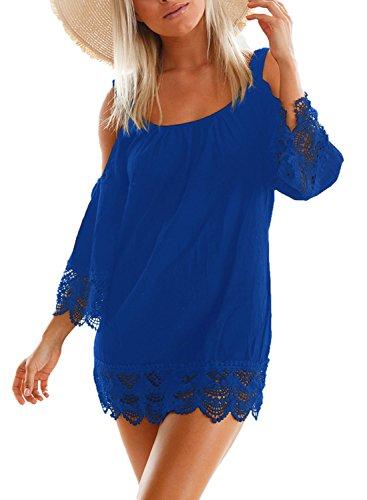 Aleumdr Damen Strandkleid Lacy Crochet Trim Crinkle Kalt Schulter Beachwear Bikini Cover up Minikleid Strandponcho Blau