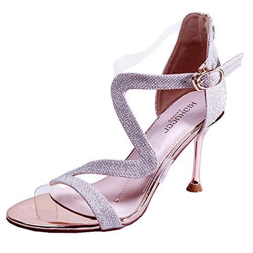 Sandalen Frauen Sommer 8,5 cm Wilde Lässige Knöchelriemen Krawatte Trend Sexy Sandaletten, 36_Gold -