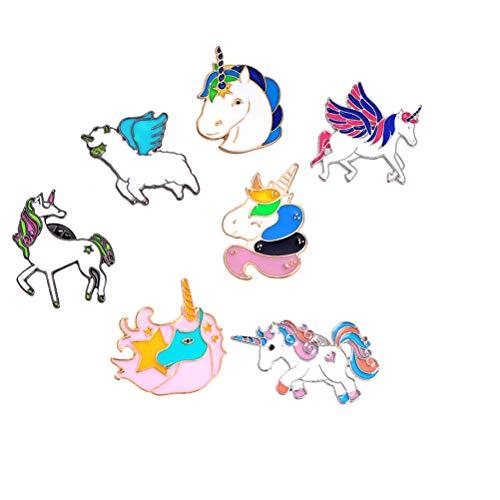 TENDYCOCO 7 stücke Broschen Bunte Einhorn Broschen Cartoon Flying Horse Revers Pin Brosche Schmuck Bekleidungszubehör für Frauen Mädchen