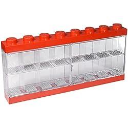 Lego Espositore per 16 Minifigures, Contenitore Impilabile da Parete o Scrivania, Rosso