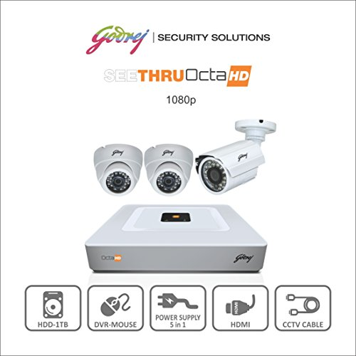 Godrej Octra Hd 1080p Sehcctv1500-1b2d 1.3mp 8-channel Dvr With 1 Bullet And 2 Dome Cameras (white)