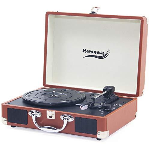 Novonova - Giradischi Bluetooth 33/45/78 giri, valigetta portatile con 2 altoparlanti stereo integrati, giradischi, vassoio professionale in alluminio, presa USB per MP3, marrone, NOV-L001