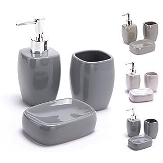 MSV Bad Accessoires Keramik 3-teilig - Seifenspender, Seifenschale, Zahnputzbecher Grau