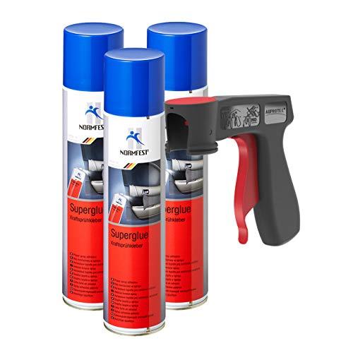 AUPROTEC Kraftsprühkleber Super Glue Superkleber Sprühkleber Klebstoff Kraft Kleber Spray 3X 400ml + 1x Original Pistolengriff