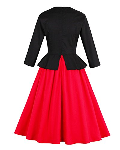 ZAFUL Robe Vintage Femme Pin Up Hepburn Robe Femme Noir Rouge Bump-Color Design Robe Col Rond à Manches Longues Rouge