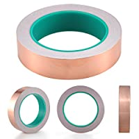 Copper Foil Tape with Conductive Adhesive (25mm X 20meters) - Slug Repellent, EMI Shielding, Stained Glass, Paper Circuits, Electrical Repairs, Crafts?Double guide?