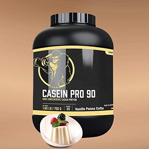 GORILLA SPORTS® Casein Pro 90 Pulver 750g Vanille Panna Cotta – Milch-Eiweißpulver zum Muskelaufbau