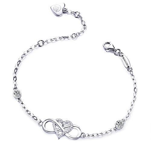 BlingGem Armband 'Für immer zusammen' 925 Sterling Silber Weißes Gold überzogenes Unendlichkeits-Herz Zirkonia Mode-Armband Damen