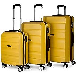 ITACA - Juego Maletas de Viaje Rígidas 4 Ruedas Trolley 55/61/71 cm ABS. Resistentes y Ligeras. Mango y Asas. Candado. Pequeña Cabina Low Cost Ryanair, Mediana y Grande. T71600, Color Mostaza