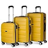 ITACA - Juego Maletas de Viaje Rígidas 4 Ruedas Lisas Trolley 55/61/71 cm ABS. Resistentes y Ligeras. Mango Asas y Candado. Pequeña Cabina Mediana y Grande XL. T71600, Color Mostaza