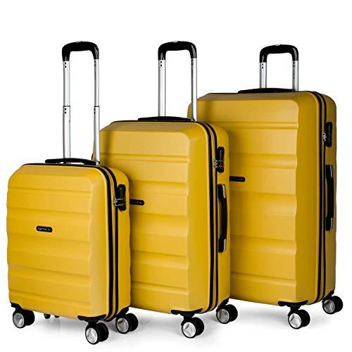 ITACA - Juego de Maletas de Viaje Rígidas 4 Ruedas Lisas Trolley 55/67/77 cm ABS. Prácticas y Ligeras. Pequeña Cabina Mediana y Grande XL. Calidad Marca y Garantía. T71600, Color Mostaza