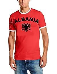 EM 2016 Albanien T-SHIRT mit Deinem NAMEN + NUMMER ! Fußball Trikot Ringer Albania Rot S M L XL XXL