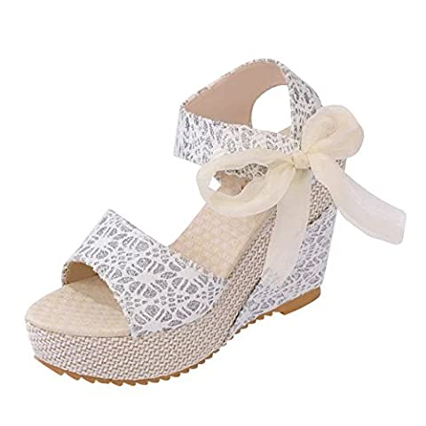 Minetom Women Elegant Fish Mouth High Heels Lace Bow-knot Sandals Lovely Chunky Heel Platform Shoes Wedges Flip Flop Thong White UK