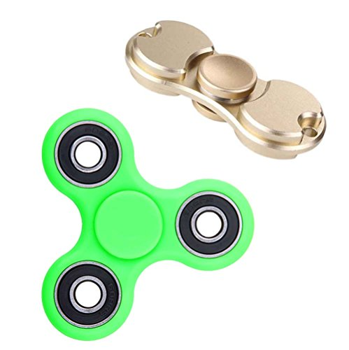 deAO-Dual-Bar-and-Tri-Bar-Hand-Spinners-PROBALANCE-Sensory-Integration-Fidget-Toys-Pack-Of-2-Improves-Concentration-and-Relaxation-Anti-stress-and-Antianxiety-GOLD-GREEN