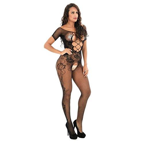 feiXIANG Damen Mode Schlanke Cross Cut Socken Dessous schwarz frauen stockings perspektive print unterwäsche fischnetz pyjama (Print-satin-robe)