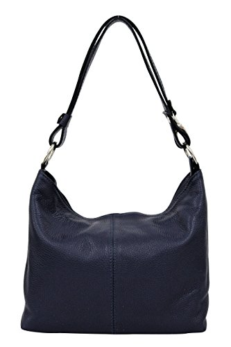 AMBRA Moda Damen Leder Handtasche Schultertasche Umhängetasche Hobo bag GL005 Dunkelblau