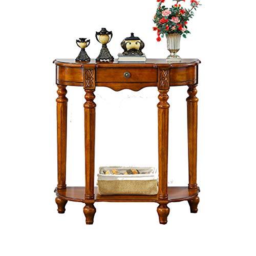 Halbkreisförmiger Beistelltisch 4 Tischbeine aus massivem Holz Veranda Couchtisch amerikanischer Retro geeignet für Flur der Eingangshalle Arbeitshalle