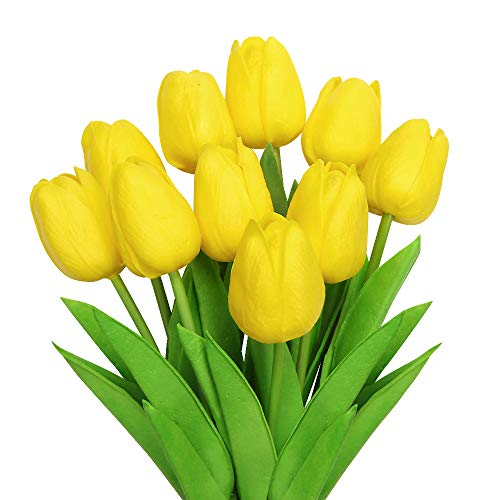 Vegena Künstliche Tulpen [10 Stück], Unechte Blumen Deko Gefälschte Blumenstrauß Seide Wirkliches Berührungsgefühlen, Braut Hochzeitsblumenstrauß für Haus Garten Party Blumenschmuck