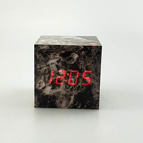 XUEQQ wecker Alarm Lock Marmor Tattoo hölzerne Schleuse nordischen Stil elektronischer Taktgeber am Krankenbett Uhr Display Temperatur Prozess Dekoration