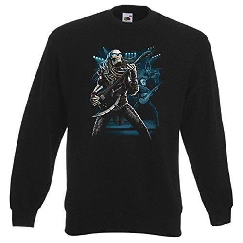 Sweatshirt, Sweater mit Bündchen, Farbe: Schwarz, Motiv: Music (Outfit Predator)