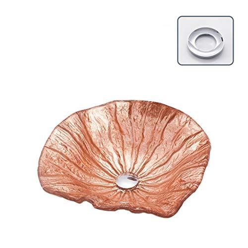 Wäsche-Bassins, ausgeglichenes Glas Designer Badezimmer Countertop Sink Countertop Bassin Geeignet for Home Hotels 12L (Color : Pink-a)