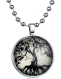 Yumi Lok Retro Árbol de Vida medallón la oscuridad, para colgante collar aleación Amuleto kettenänhanger para mujer hombre, luz azul