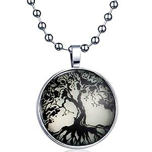 Yumilok Retro Lebensbaum Medaillon Nachtleuchtend Anhänger Halskette Legierung Amulett Kettenänhanger für Damen Herren, Blaues Licht