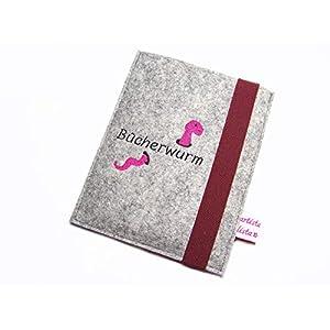 eBook Reader eReader Hülle Bücherwurm inkl. Stickerei, Maßanfertigung, z. B. für Tolino Epos