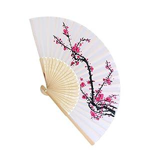 Magideal Giapponese Bambù Prugna Mano Fiore Pieghevole Tasca Ventilatore Tenuto Arredamento Ventilatore Matrimonio