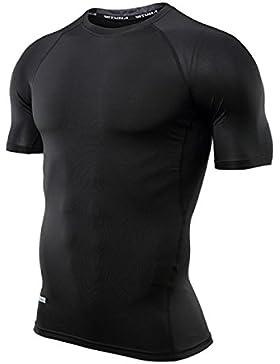 PDFGO Hombres Camisetas Medias Fitness Manga Corta Cuello Redondo Secado Rápido Ligero Transpirable Correr Entrenamiento