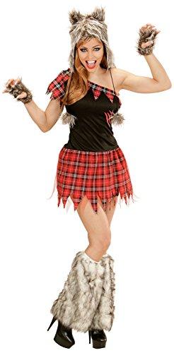 senenkostüm Wolf Lady, Kleid, Kopfbedeckung, fingerlose Handschuhe (Black Werwolf Kostüme)