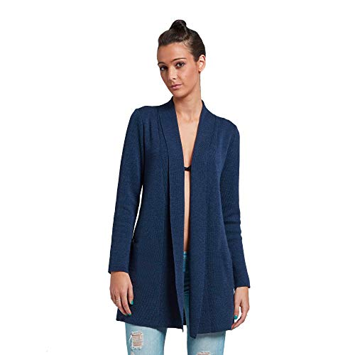 Brunella Gori Waterfall Cardigan Senza Tasche Laterali - in 100% Merino Extrafine Color Navy L