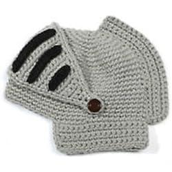 Locomo FFH088BLK - Casco romano / de caballero con visera, cosplay gorro de lana tejida, pasamontañas gris gris talla única