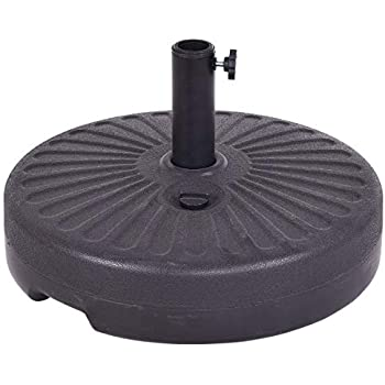 garden mile/® Heavy Duty Garden Parasol Base Umbrella Stand Square Round Granite Cast Iron Effect Rattan Various Weights. 6kg Black Square Plain