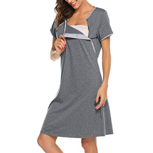 Damen Umstandskleid Stillmode Stillkleidung,Mutterschaft Kurzarm Stillen Baby Nachthemd Schwangerschaft Lässig Kleid Stillen Röcke Nachthemd Nachtwäsche Stillkleid Festlich -