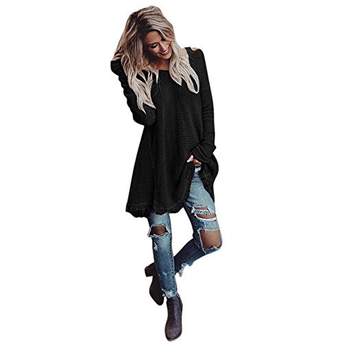 OSYARD Damen Sweater Dress Oberseiten Pullover Kleid Sweatshirt, Frauen Winter Pulli Tunika Langarm Quaste Off Schulter Tops Bluse T-Shirt Cardigan Lose Mini Dress Freizeit Kleid(M, ()