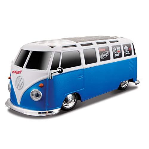 Maisto Tech R/C VW Bus Samba: Ferngesteuertes Auto VW T1, mit Pistolengriff-Steuerung und Hinterradantrieb, Maßstab 1:24, 20 cm, schwarz-weiß (581144)