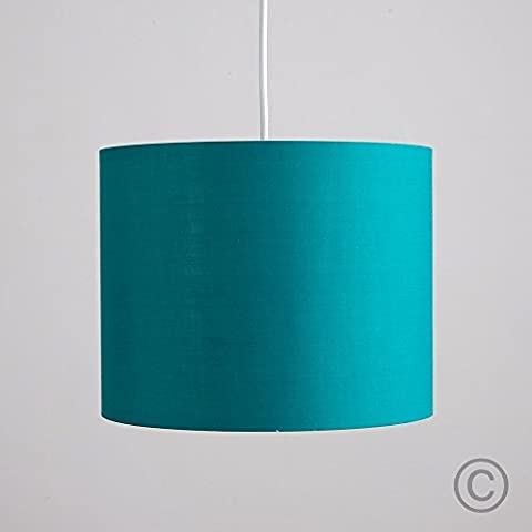 Small Modern Rolla Polycotton Turquoise Teal Cylinder Ceiling Pendant / Table Lamp Drum Light Shade