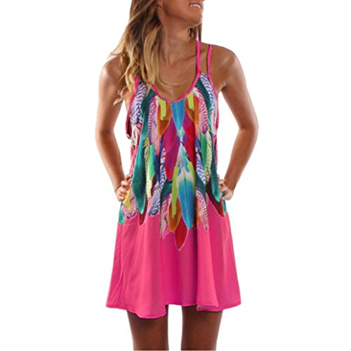 Damen Kleid Yesmile Damen Partykleid Sommerkleid Sexy Urlaub Boho Federdruck Spaghettiträger Minikleid Frauen Strandkleid Beiläufige Abendkleid S-5XL (M, Rosa)