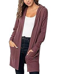 iHAZA Mode Femmes Cardigan à Manches Longues à Poche Solide Chandail à  Capuchon Tricoté Veste 42954833c1fd