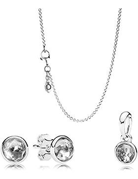 Pandora Set Kette, Anhänger & Ohrstecker Geburtssteine April B800371