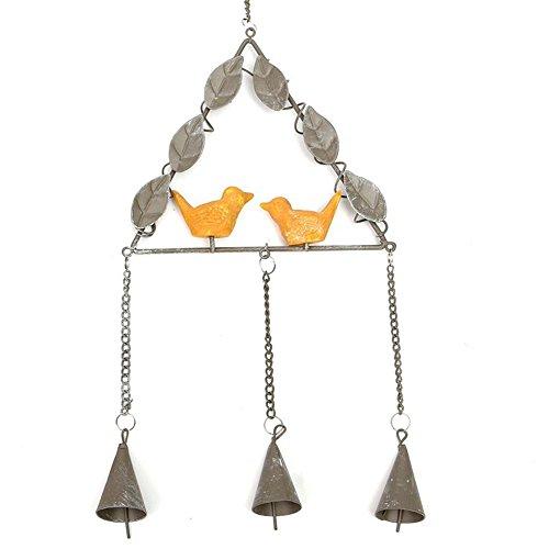 Winterworm europäischen Stil Vintage Eisen Harz Vogel Windspiel für Wand Fenster Tür Hängende Dekoration Ornaments Home, grau, Triangle