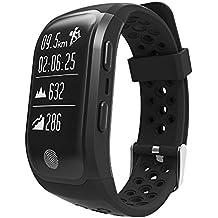 Fitness Tracker, upxiang S980GPS Monitor de frecuencia cardíaca resistente al agua Monitor reloj inteligente Bluetooth 4.0, Actividad pulsera podómetro monitor de sueño para caminar/correr/ciclismo/Natación/llamadas/mensaje, soporte IOS8+/android4.3+ como iPhone 77Plus 6Samsung S8, color negro