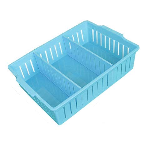 Asuvi 1 Piece Plastic Office Collapsible Storage Box Bin Baskets Stackable Container Organizer with Partitions Tray(37 x 25 x 8.5 cm) (Blue)