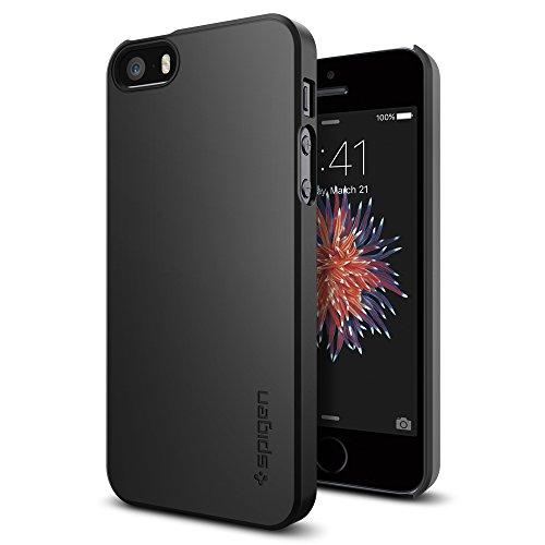 Spigen iPhone SE Hülle, iPhone 5S/5/SE Hülle [Thin Fit] Passgenaues [Schwarz] Premium Hart-PC Schale/Schlanke Handyhülle/Schutzhülle für iPhone SE/5S/5 Case, iPhone SE/5S/5 Cover - Black (041CS20168)