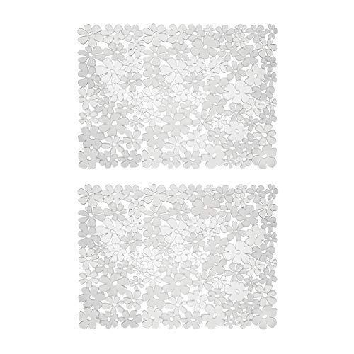 mDesign Set da 2 Tappetini per Il lavandino della Cucina - Tappetino Protettivo in PVC - Tappetino lavello per stoviglie e Posate con Motivo a Fiori (Grande) - Trasparente