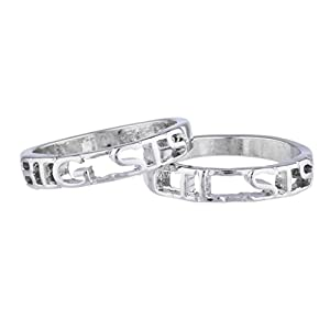 LUX Zubehör Silvertone Big Sis Lil Sis Schwestern BFF Best Friends Ring Set 3